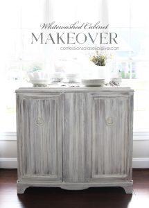 Wood Cabinet whitewashed