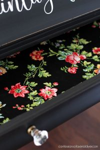 Drawer lined with fabric
