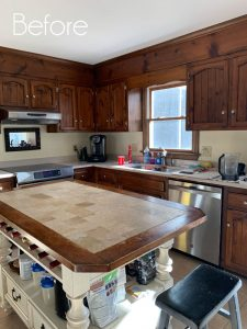 Pine kitchen Before and After