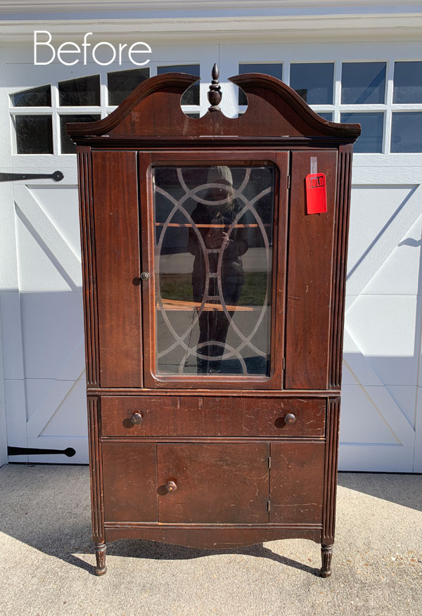 $25 Thrift Store China Cabinet Makeover
