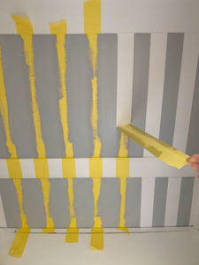 Frogtape for delicate surfaces is awesome for adding stripes to your project!