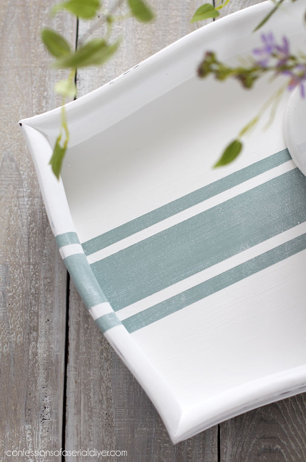 Thrift store tray painted in Cotton with a grain sack stripe