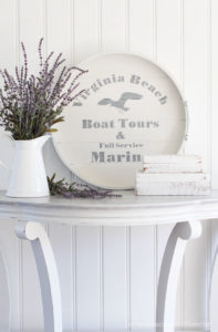 Thrift store tray makeover with Dixie Belle Paint and a Silhouette stencil.