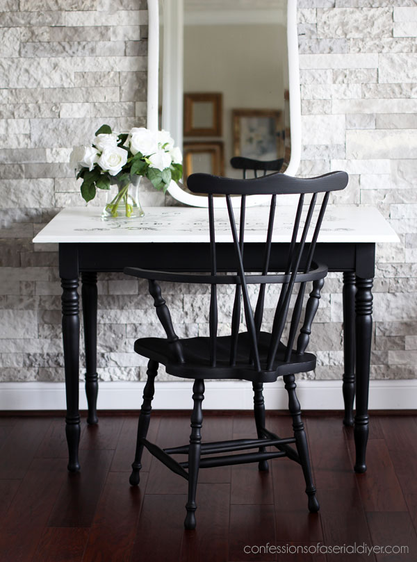 Painted Windsor Chair and Table with Transfer