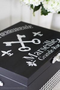 Stencil a flatware box