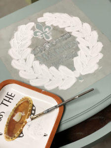 Add a stencil the the top of a table