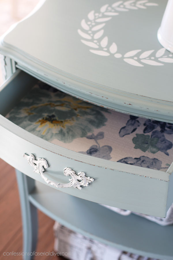 Line drawers with pretty fabric for a nice surprise!