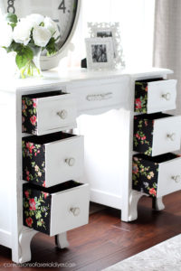 Cover the whole drawer in fabric for a fun pop of color!