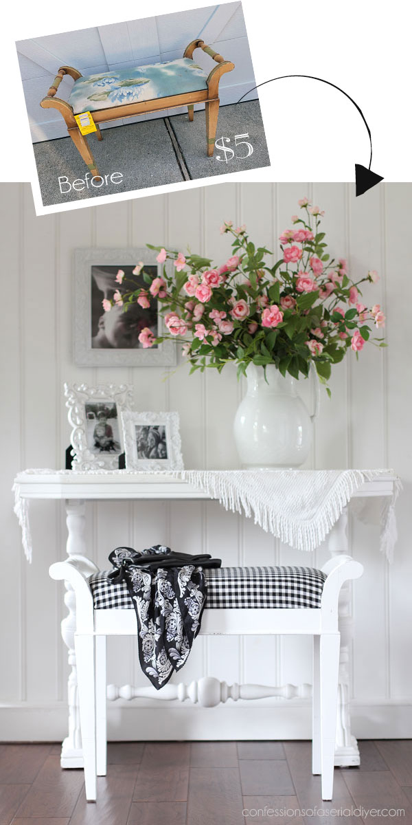 Painted dressing table bench.