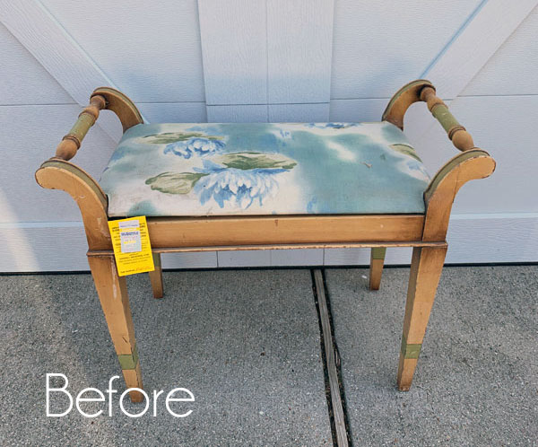 $5 Dressing Table Bench Makeover