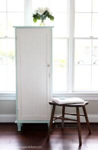 Cabinet built to fit antique cabinet door