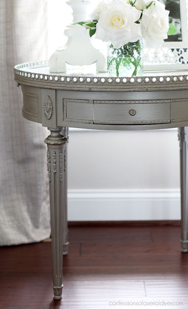 Marble-topped Table Painted in Steel Magnolia