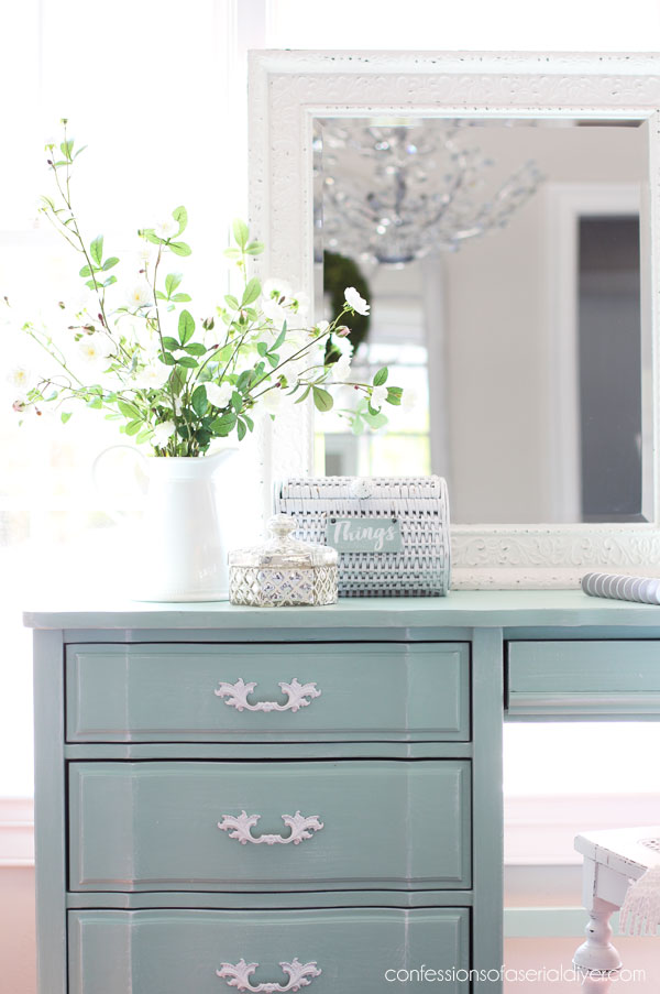 French Provincial desk with Coastal Makeover