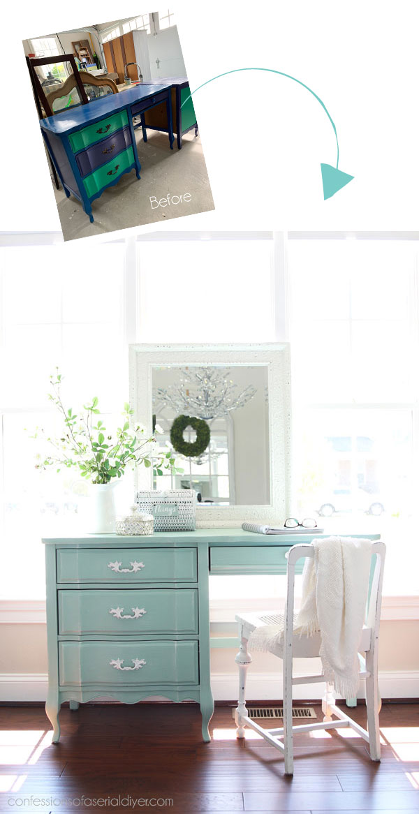 Desk painted in Sea Glass by Dixie Belle