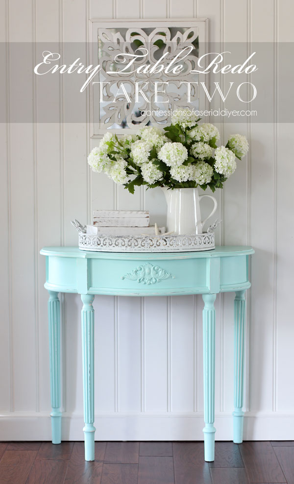 Painted entry table in soft aqua!