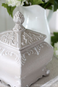 Ornate box painted in French Linen
