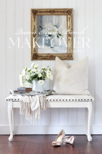 Queen Anne Bench Makeover with Nail Head trim.