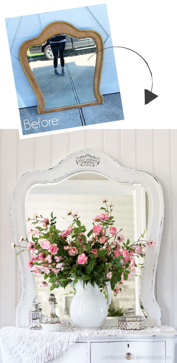 Shabby Chic Mirror Makeover with Transfer