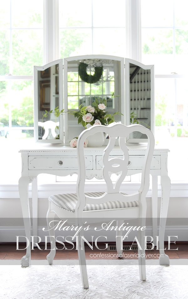 Antique dressing table painted white