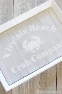 Thrift store trays turned coastal