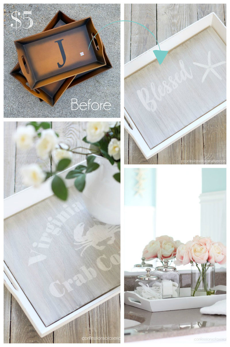 Thrift Store trays get a coastal makeover