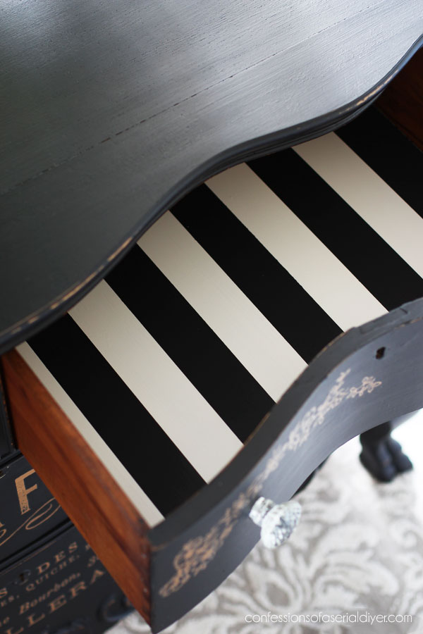 Paint stripes in a dresser drawer