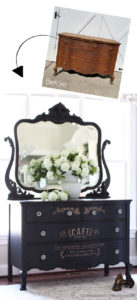 Painted Serpentine Dresser with Transfer
