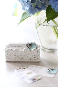 Coaster holder repurposed as a business card holder!