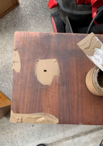 Dixie Belle Mud is perfect for filling missing veneer.