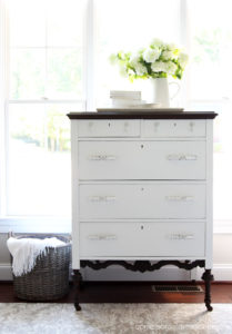 Antique dresser painted in Cotton and Espresso No Pain Gel Stai