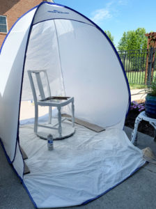 The HomeRight medium sized spray shelter is perfect for small furniture like chairs!