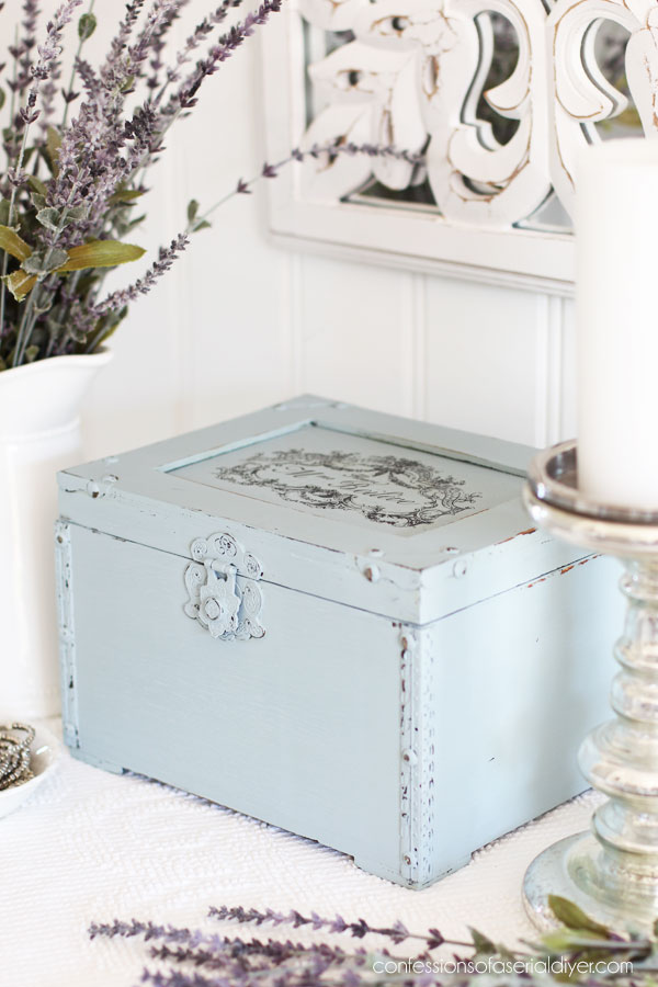 Thrift store box painted in Savannah Mist by Dixie Belle
