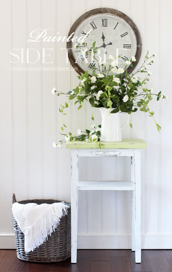 Farmhouse green and white painted side table