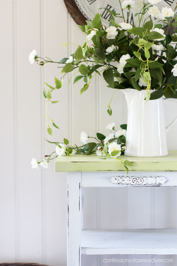 painted distressed side table