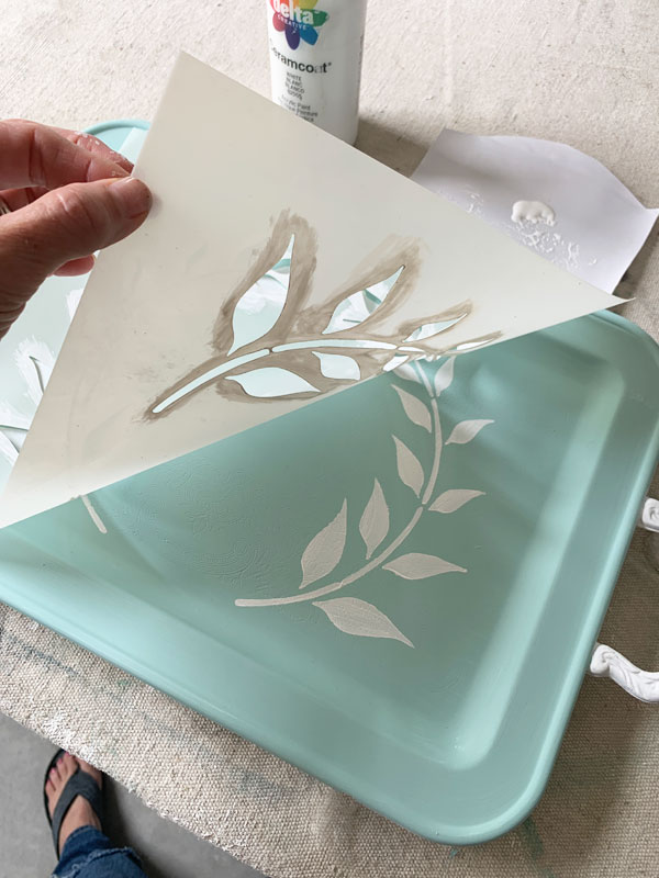painted silver tray