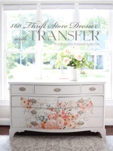 Dresser with Rose Celebration Transfer