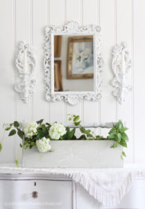 Shabby chic mirror and sconces