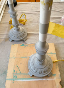 Adding stripes to tall buffet lamps