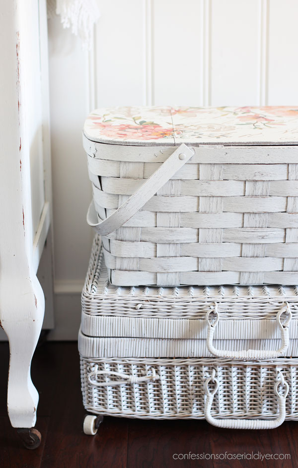 Picnic Basket Makeover with transfer