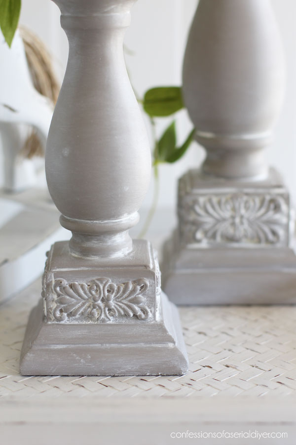 French Linen candlesticks with white wax