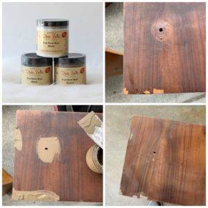 Dixie Mud for filling holes, gauges, missing veneer and more on furniture!