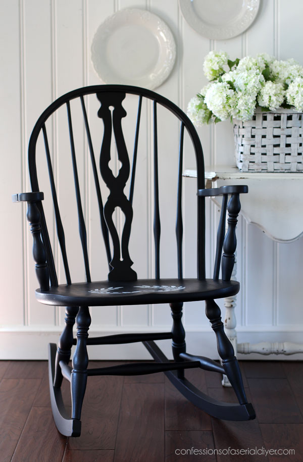Windsor rocker painted in Caviar/black