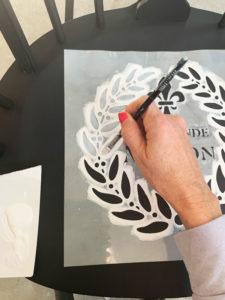 Adding a stencil to a chair