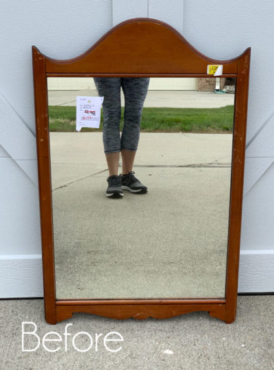 DIY Faux Etched Christmas Mirror from a $7 Thrift Store Find