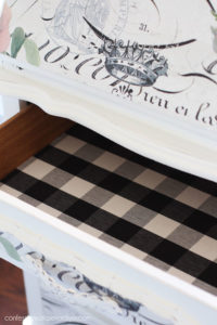 Line drawers with fabric