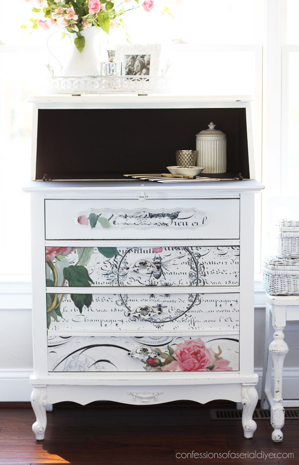 Painted secretary with decoupage paper