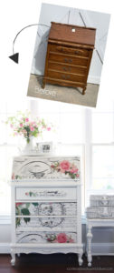 Vintage secretary made over with paint and decoupage paper!