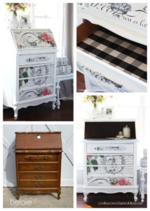 Vintage Secretary Makeover with Decoupage Paper