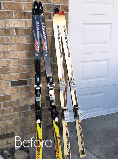 Skis Repurposed as Christmas Decor