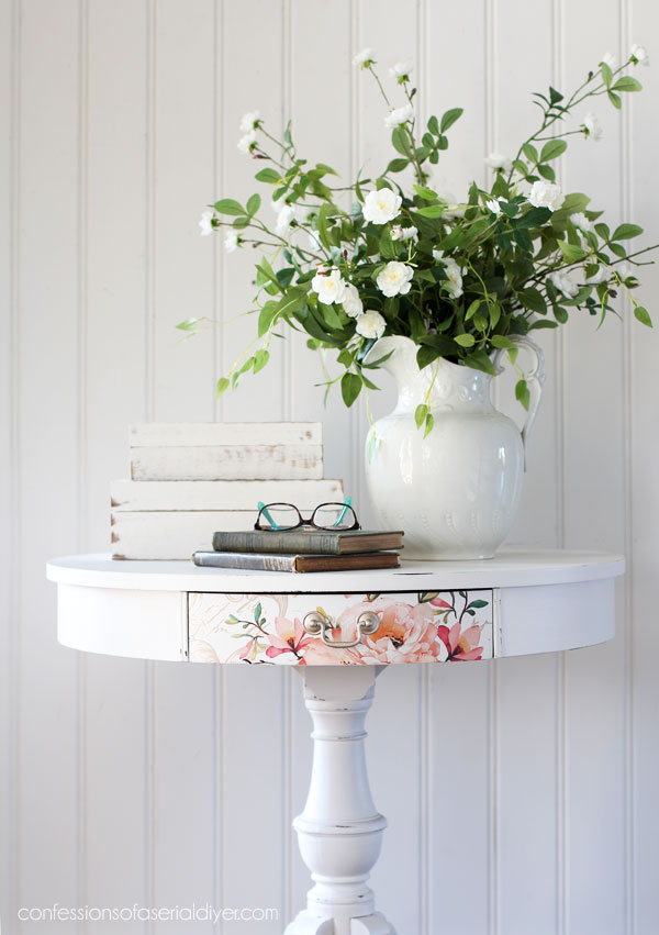 Drum table makeover with transfer